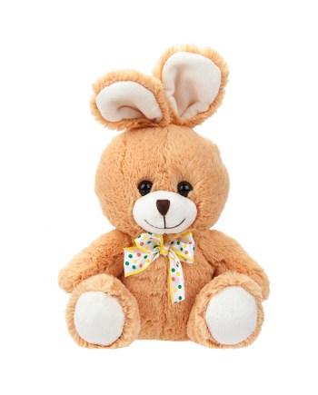 Plišani Zeko 27cm sa mašnom i dugim ušima. Sladak i mekan, za grljenje i maženje, savršen kao rođendanski poklon.