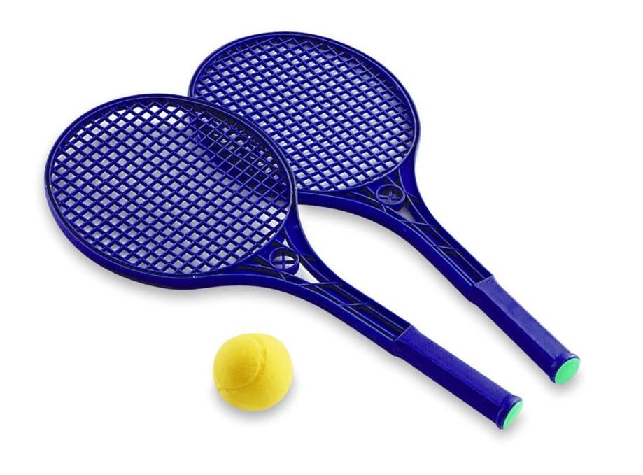 Plastične rekete za tenis u mrežici, 2 komada sa spužvenom lopticom. Ove plastične rekete idealne za djecu i rekreativno igranje tenisa.
