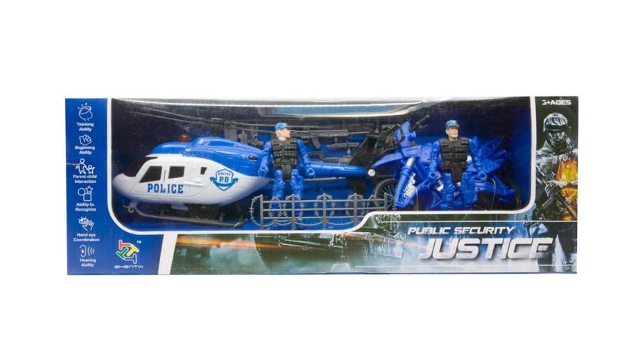 Igračka Vozila Policija, likovi policija u setu u kojem se nalazi policijski helikopter, policijski motor, dva likova policajaca, te razna oružja kao dodaci.