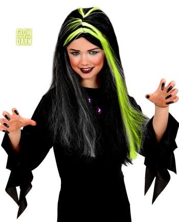 PERIKA Vještica Neon Dječja, svijetli u mraku je perika namijenjena djeci. Savršena je za maskiranje, lude partije, proslave Halloweena ili karnevalske povorke.