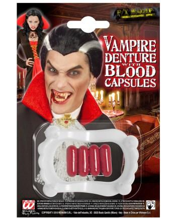 ZUBALO Vampir+4kapsule krvi, Vampirski zubi. Savršeni je za maskiranje, lude partije, proslave Halloweena ili karnevalske povorke.