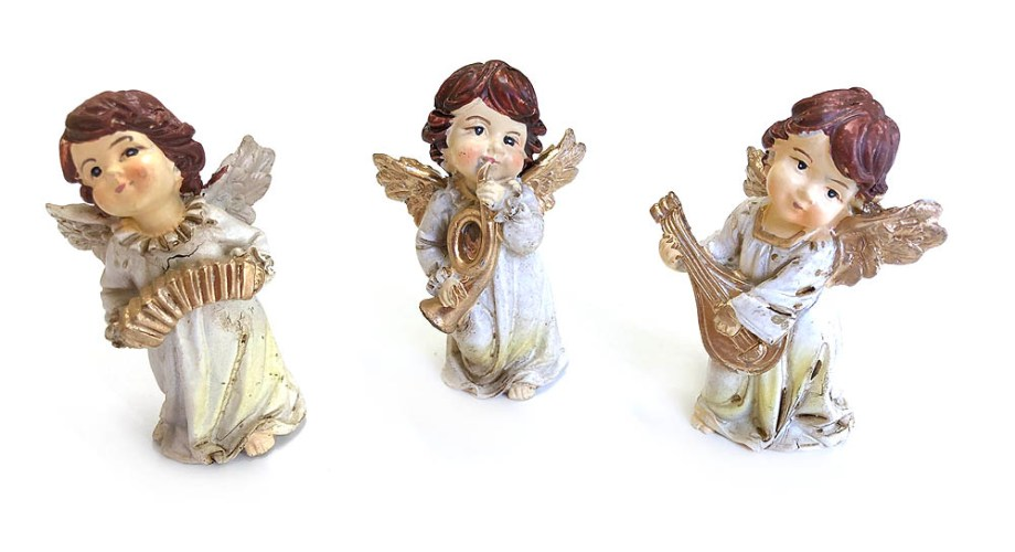 ANĐEO keramički sa instrumentom 8cm. Keramički anđeo sa krilima i instrumentom