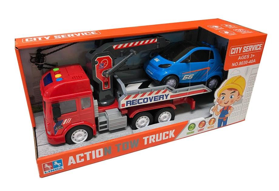 Kamion vučna služba sa autom, na baterije. U pakiranju se nalazi kamion vučne službe sa dizalicom i rampom koja se miče i auto.