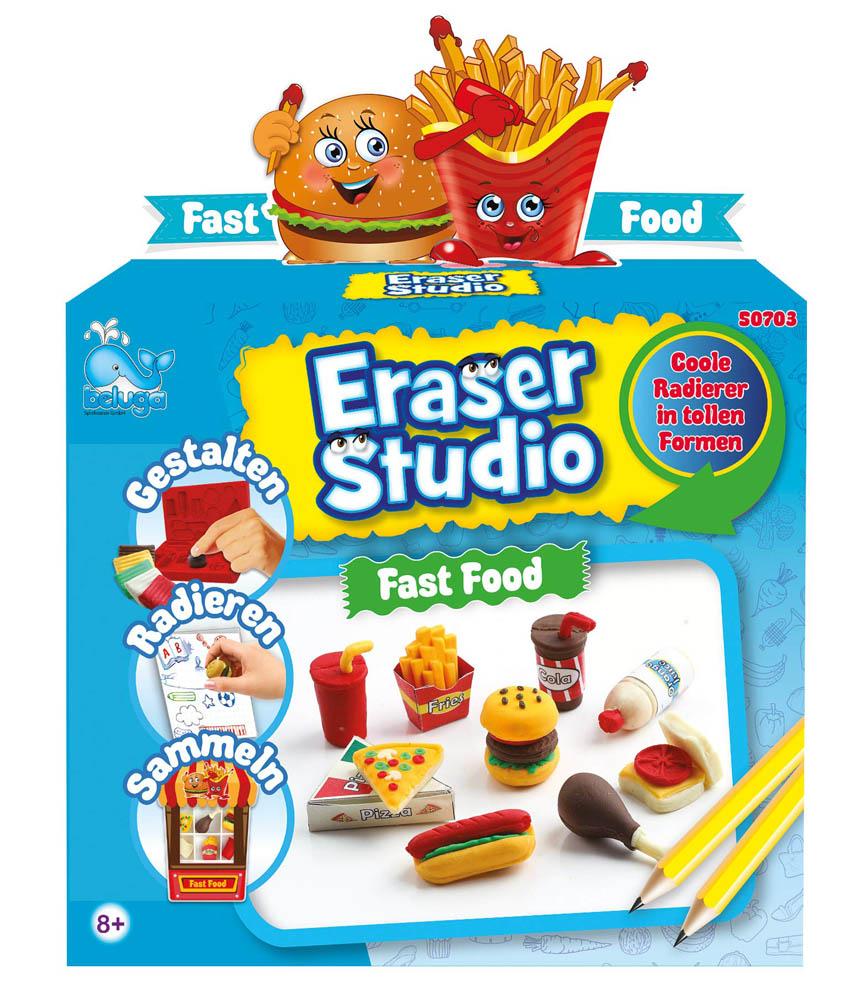 Set za izradu gumica za brisanje Fast Food. Eraser Studio Fast Food je kreativni set za izradu vlastitih gumica za brisanje.