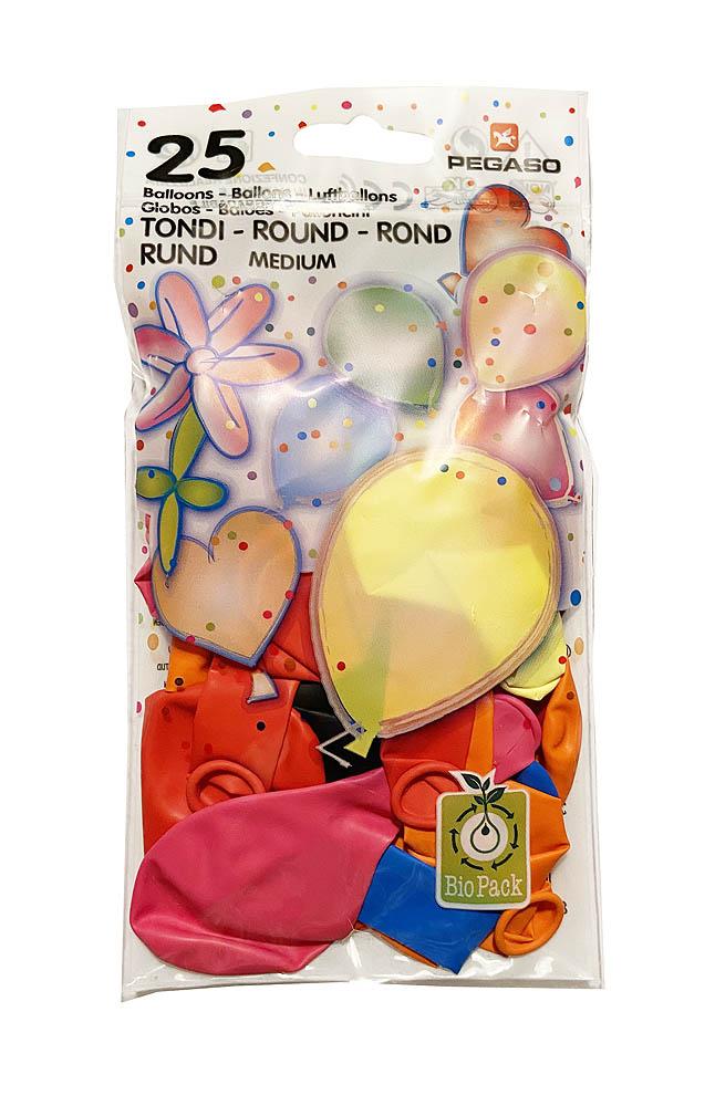 Baloni raznobojni, okrugli baloni veličine 26 centimetara, 25 komada u pakiranju. Proizvedenih od prirodnog biorazgradivog lateksa.
