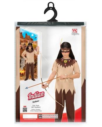 Kostim Indijanac, Karnevalski kostim za djecu od 4 do 5 godina. Savršen je za igru, lude partije ili karnevalske povorke. U pakiranju se nalazi majica, hlače, pojas i dio za glavu.
