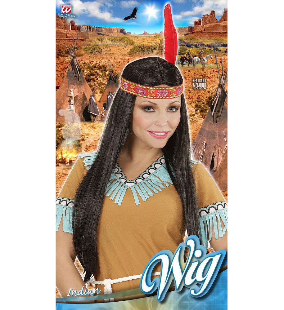 Perika za odrasle sa trakom Indijanka, karneval. Savršena je za maskiranje, lude partije, proslave Halloweena ili karnevalske povorke.