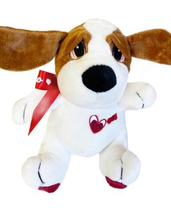 Plišani pas sa srcem, natpisom Love i mašnom TI AMO veličine 17 centimetara. Prekrasni plišani pas dolazi u 2 boje, crnoj i smeđoj.