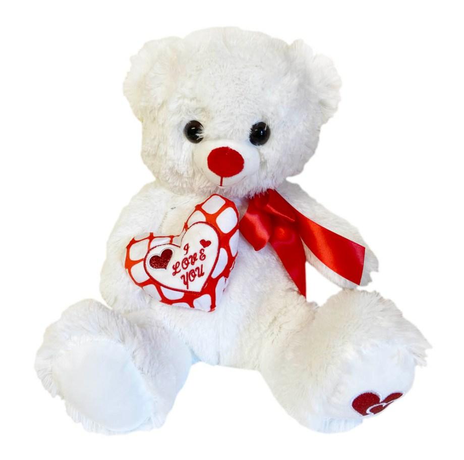 Plišani medo bijeli sa mašnom, srcem i natpisom I LOVE YOU veličine 35 centimetara. Prekrasni bijeli medo sa crveno/bijelim srcem na koiem je napisano I LOVE YOU.