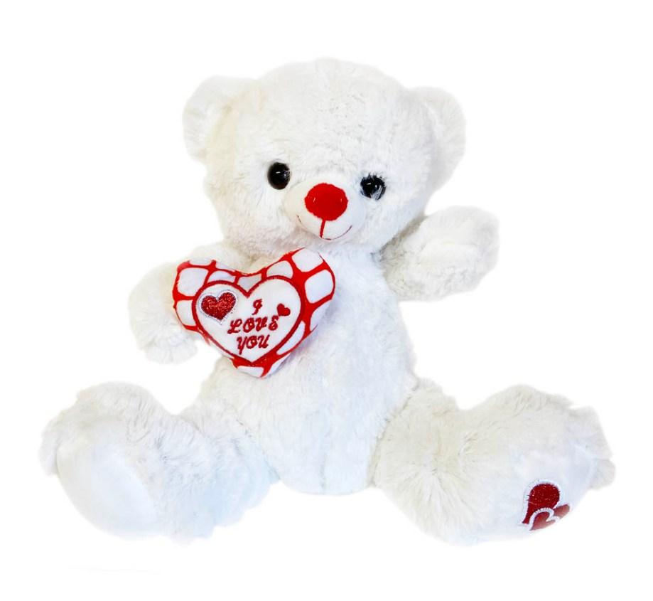 Plišani medo bijeli sa srcem i natpisom I LOVE YOU veličine 26 centimetara. Prekrasni bijeli medo sa crveno/bijelim srcem na koiem je napisano I LOVE YOU.