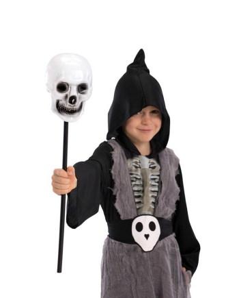 Karnevalski štap sa lubanjom, štap sa kosturskom glavom. Savršen je za lude partije, proslave Halloweena ili karnevalske povorke.