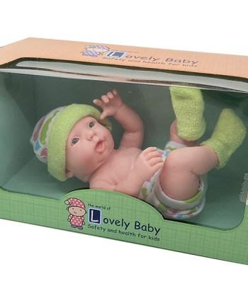 Lutka gumena sa čarapama, pelenom i kapicom, 24 centimetra. Prekrasna lutka, realističnog izgleda. Dolazi u pakiranju sa čarapama, pelenom i kapicom.
