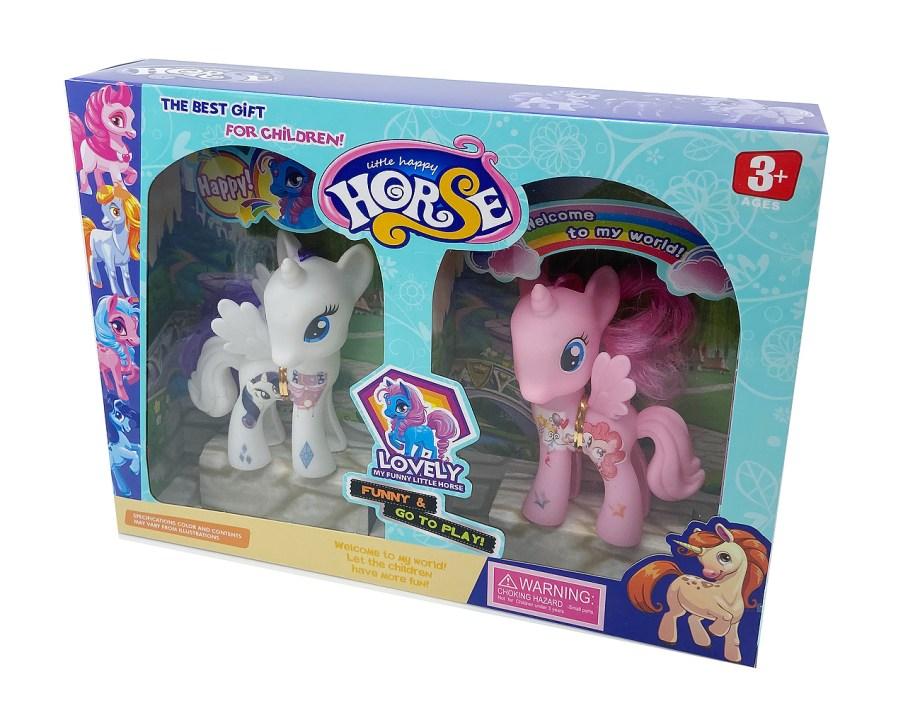 Pony mekani gumeni, 2 komada, roza i bijeli. Za svu djecu koja vole sakupljati figurice ponija ovo je idealan poklon. Set sadrži 2 ponija od 11cm u roza i bijeloj boji.