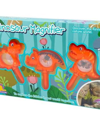 Povećala za djecu u obliku dinosaura, 2 boje. Simpatična dječja povećala za istraživanje tajnog svijeta insekata. U pakiranju se nalaze 3 povećala u obliku dinosaura.
