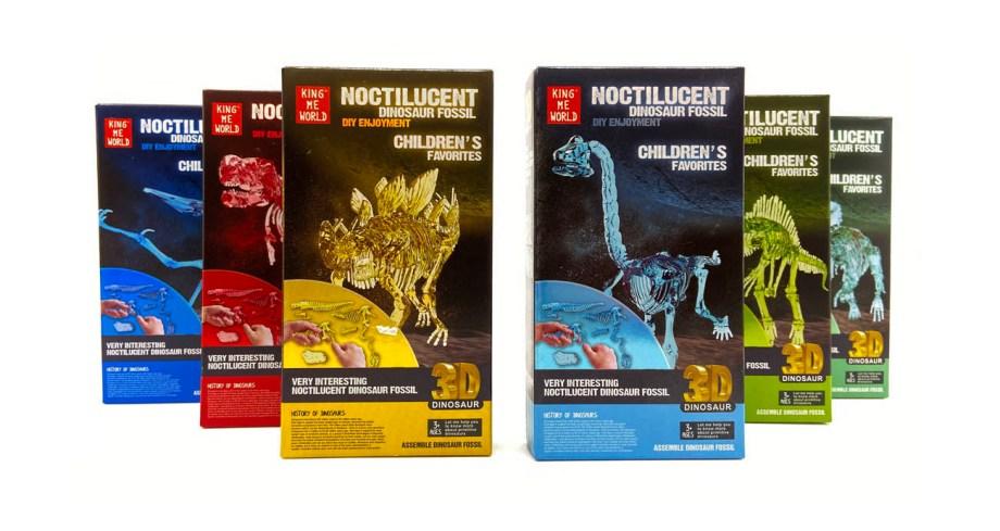 Dinosauri - komplet za slaganje kostura, florescentni modeli. Ovi kosturi dinosaura dolaze u 6 različitih modela, Modeli kostura su florescentni pa svijetle u mraku.