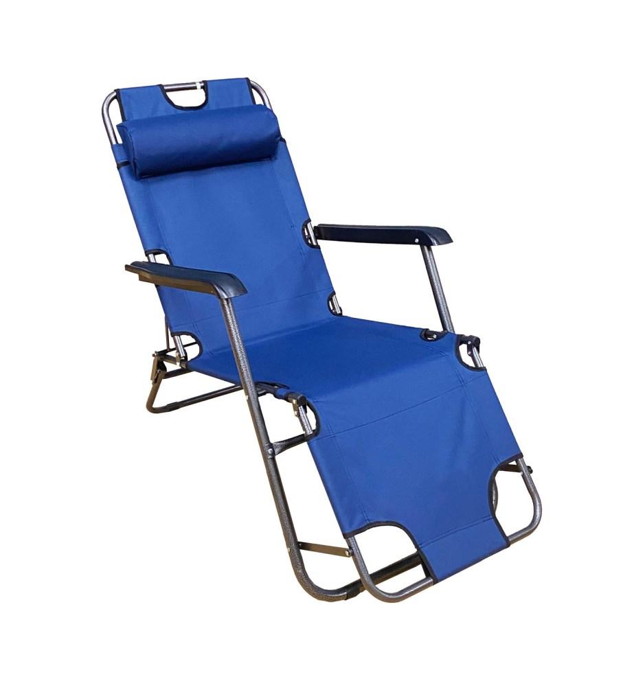 Sklopiva ležaljka i stolica za plažu, kampiranje ili vrt. Udobna ležaljka koja se može koristiti kao ležaljka ili kao stolica težine je samo 5 kilograma.
