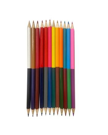 Drvene olovke u boji, Dvostrane drvene bojice 12 komada. U pakiranju se nalazi 12 drvenih olovaka za bojanje. Olovke su posebne po tome što se na svakoj nalaze po dvije boje.