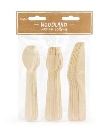 Drveni pribor za jelo, set vilica, žlica, noževa za proslave. Ekološki komplet od 6 vilica, 6 žlica i 6 noževa. Pribor je izrađen od drva te je visine 16 centimetara.