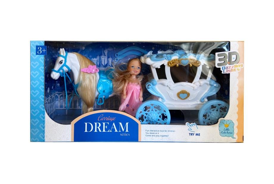 Lutka sa kočijom i konjem, sa svjetlom i zvukom je bajkovita igračka sa kojom će vaše dijete ponovo proživjeti sve prekrasne priče o princu, princezi i sretnoj ljubavi.