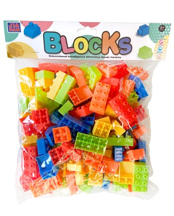 Plastične kockice u vrećici raznih oblika, 90 komada. Šaren i praktičan set plastičnih kocaka od 90 komada u vrećici.