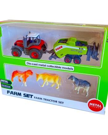 Traktor sa prikolicom i životinjama, sa metalnim djelovima. Ovaj Traktor sa prikolicom dolazi u 4 različita modela za svu djecu koja vole traktore.