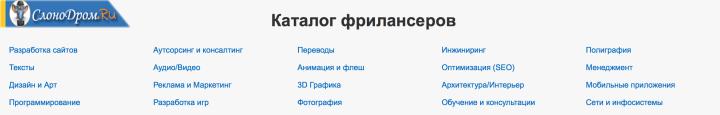 Выды работы на fl.ru