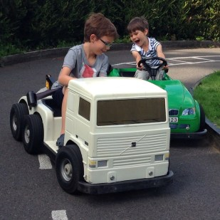 Isaac and Toby driving