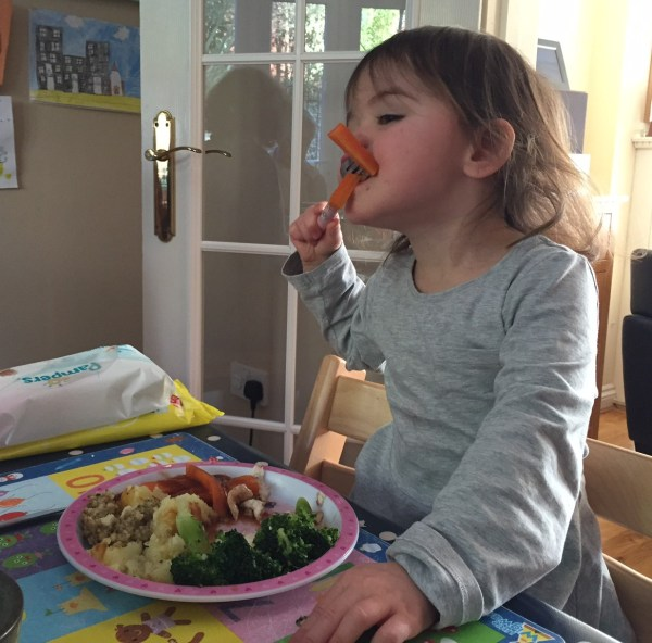 Kara tucking in to her Sunday dinner