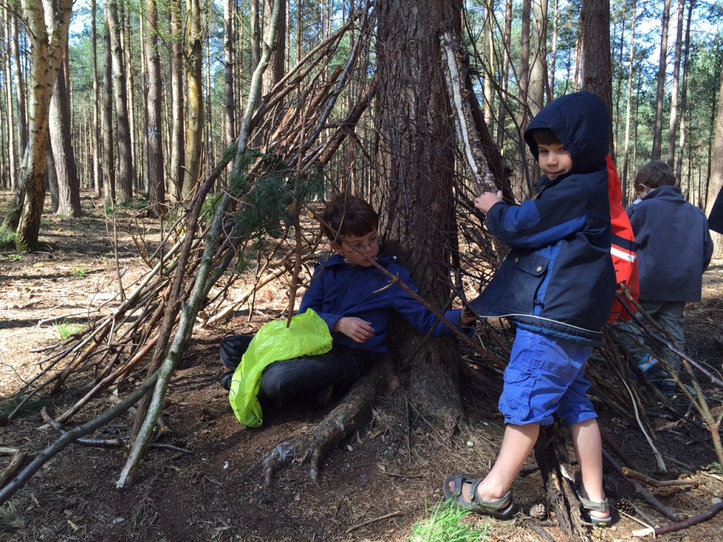 Isaac and Toby building a den in Bracknell Forest