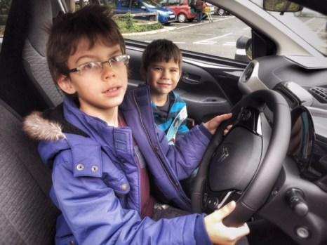 Isaac and Toby car