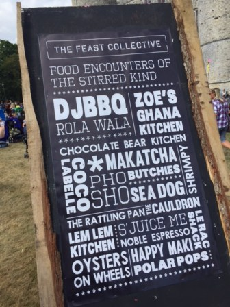 Camp Bestival Feast Collective sign