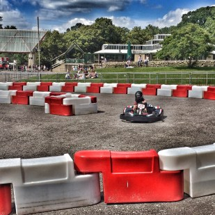 Isaac go-karting at Beaulieu
