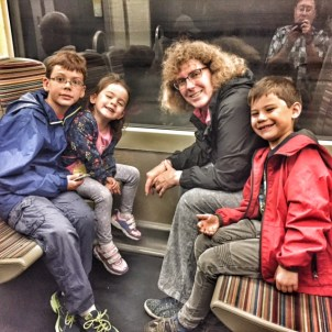Heather and kids on Paris Metro