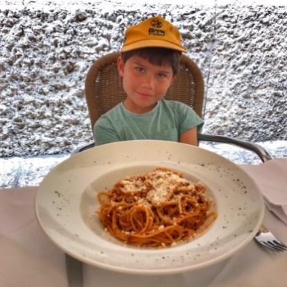Summer holiday 2017 Verona Toby spaghetti ragu