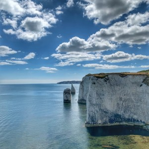 A view of The Pinnacles rock formation in Dorset