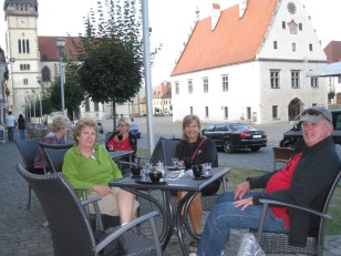 Relaxing in Bardejov's medieval square.