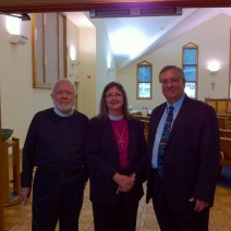 Bishop Kucharek, with Synod VP Jerry Owen, and the Rev. Hans-Fredrik Gustafson