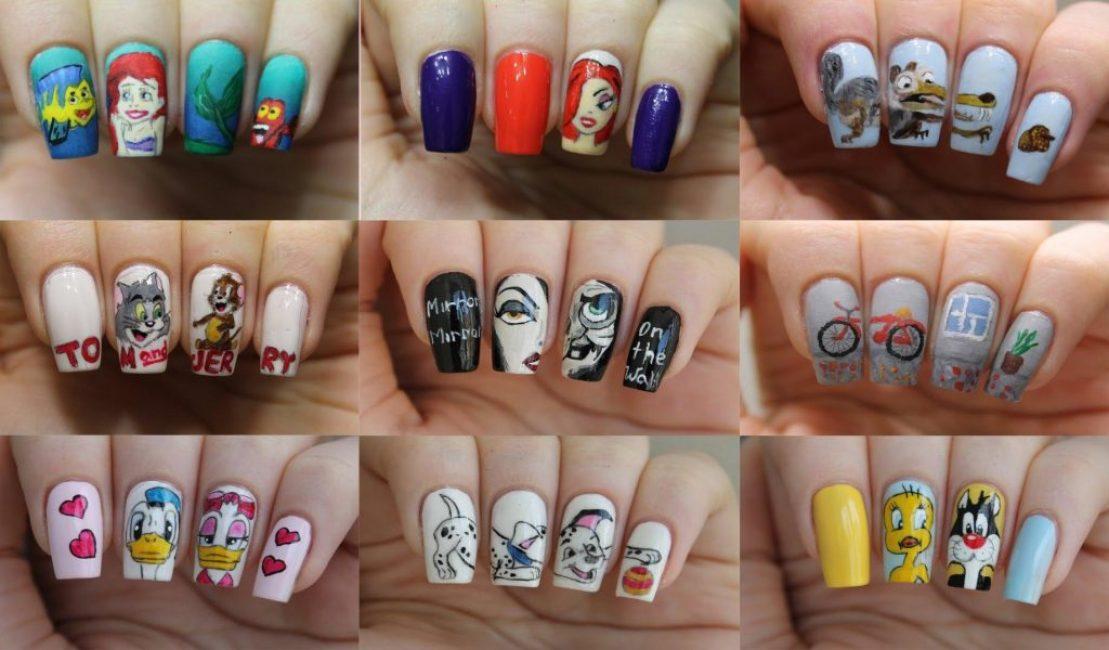 Lyse og sjove tegninger på negle