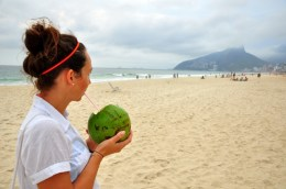 Enjoying a coco at Ipanema beach