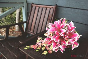Bridal bouquet of pink lillies