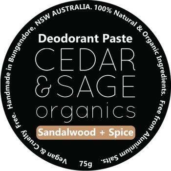 Cedar & Sage Organics Sandalwood & Spice Deodorant Paste at Slow Beauty Eco Salon in Canberra