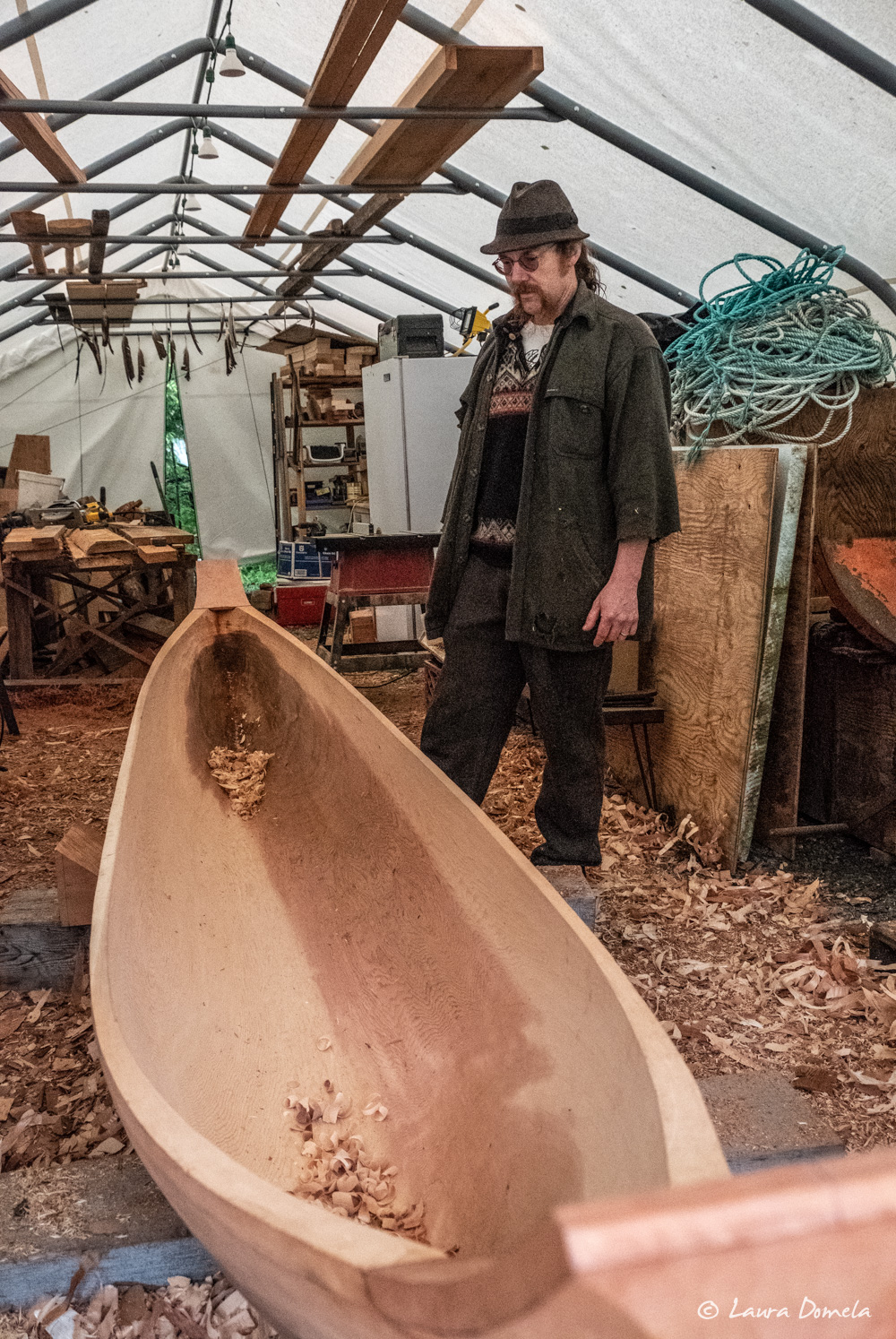 Carver Stormy showing us his 13' cedar canoe