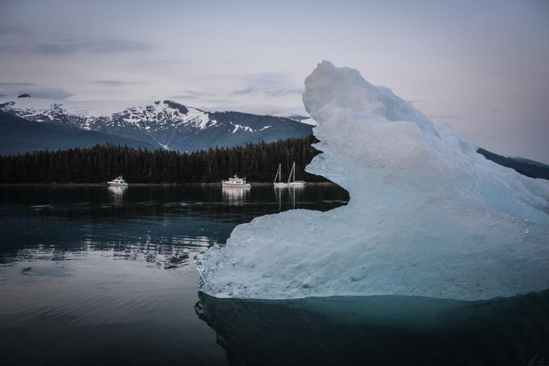 Tracy Arm Cove anchorage with iceberg
