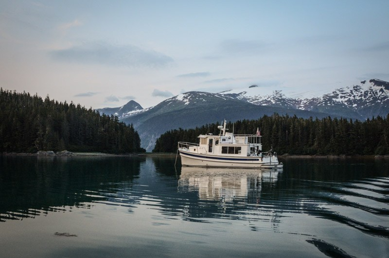 "Nordic Tug 34 ""Airship"" anchored in Tracy Arm Cove"