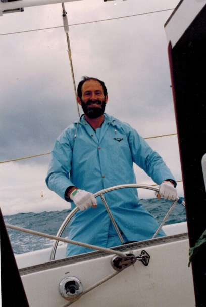 On the helm Rose-Noelle acoss Tasman Sea