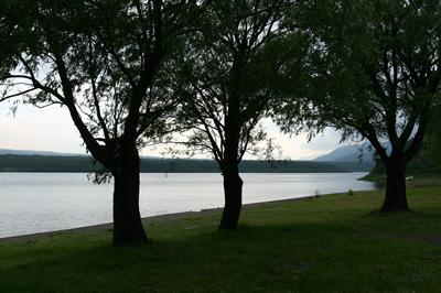 西湖 湖畔にての夕暮れ