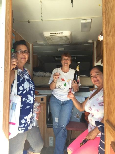 aguada touring camper wine toast