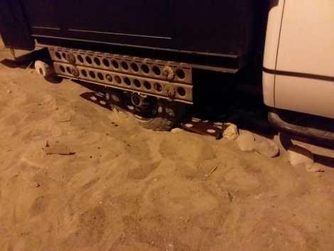 stuck deep in sand