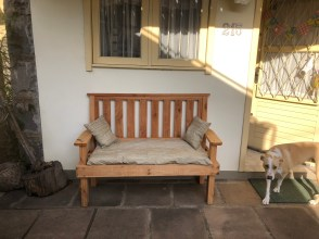 summer new bench on patio
