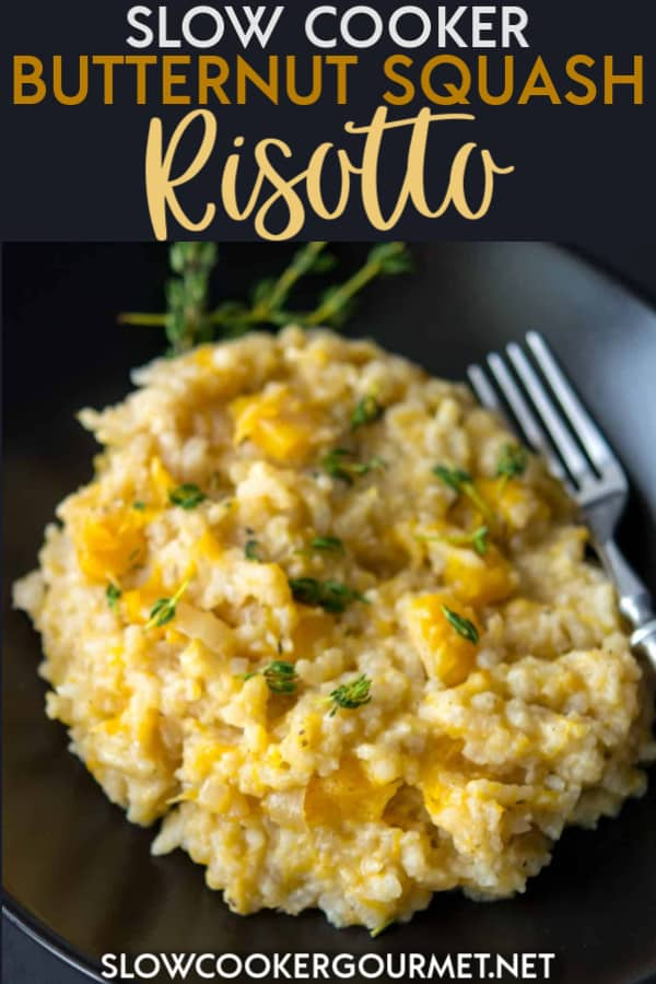 My Slow Cooker Butternut Squash Risotto is delicious recipe that's so easy you'll be making it again and again! It pairs beautifully with so many different meal options and will make your own home feel like the most fancy restaurant around! #slowcooker #butternutsquashrisotto